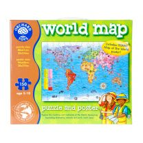 World map puzzle with poster 150 pieces