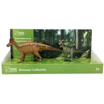 Carnotaurus and Corythosaurus models