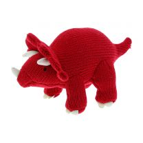 Red knitted Triceratops soft toy