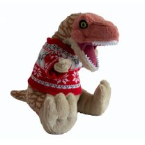 T. rex soft toy in Christmas jumper