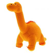 Orange knitted Diplodocus soft toy