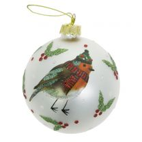 Robin and holly glass bauble