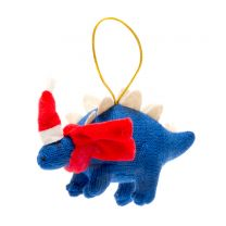 Blue knitted Stegosaurus Christmas decoration