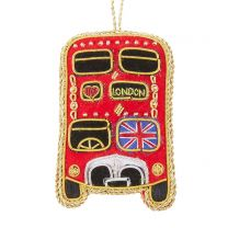 Embroidered London bus Christmas decoration