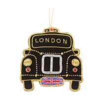 Embroidered black taxi Christmas decoration
