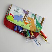 Personalised Mesozoic monsters pencil case with optional stationery set