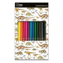 12 Museum dinosaur design colouring pencils