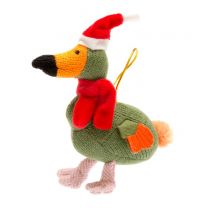 Knitted dodo in santa hat Christmas decoration