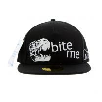 Black Bite me dinosaur baseball cap for kids