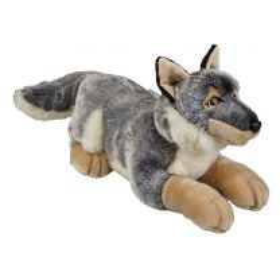 Grey wolf soft toy