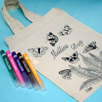 Personalised butterfly small tote bag with colouring pens