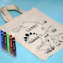 Personalised Mesozoic Monsters small tote bag with colouring pens