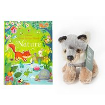 Bundle offer: Nature First sticker book and mini wolf soft toy
