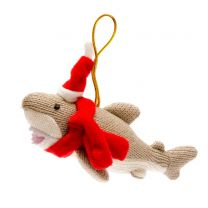 Knitted shark in santa hat Christmas decoration