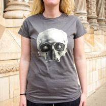 Charcoal human skull ladies-fit t-shirt