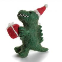 T. rex with present Christmas decoration