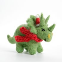 Felt Triceratops with hat and scarf Christmas decoration
