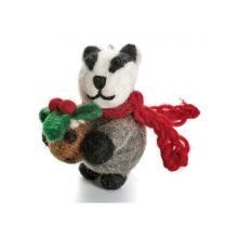 Badger with Christmas pudding decoration