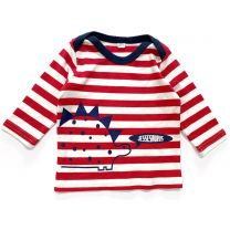 Red striped Stegosaurus custom t-shirt for babies