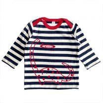 Navy striped Brachiosaurus custom t-shirt for babies