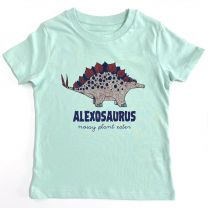 Green Stegosaurus custom t-shirt for kids