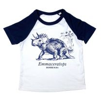 Blue Triceratops custom baseball t-shirt