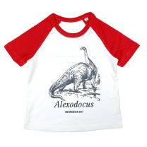 Red Diplodocus custom baseball t-shirt