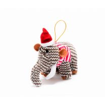 Brown Knitted Woolly Mammoth Christmas decoration