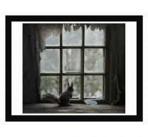 Red squirrel keeps a lookout wall print