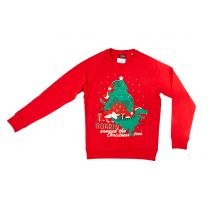 Red dinosaur Christmas jumper for adults