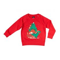 Red dinosaur Christmas jumper for kids