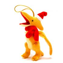 Yellow knitted Pterodactyl Christmas decoration