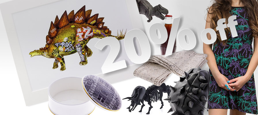 Dinosaur dress, trinket box with an illustration of the Museum, and othe rgifys in our 20% off offer