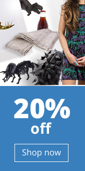 20% off designer gifts promo with dinosaur dress