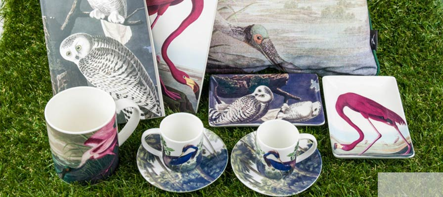 cups, trinket trays and notebooks with Aududbon images| Natural History Museum online shop
