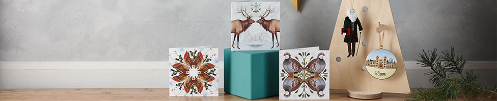 Three Christmas cards sit next to a wooden Christmas tree decorated with Darwin and Museum building decorations.