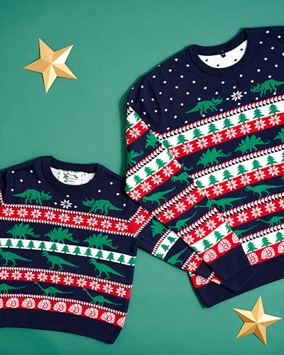 Dinosaur Christmas jumpers lay on a green background.