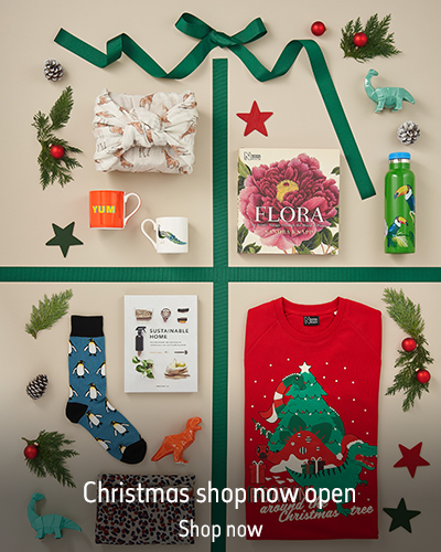 A variety of Christmas gifts are laid out on the floor, separated by green ribbon. The text reads 'Christmas Shop now open. Shop now'.