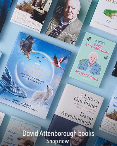 A selection of David Attenborough books against a light blue background. The text reads 'David Attenborough books. Shop now'.