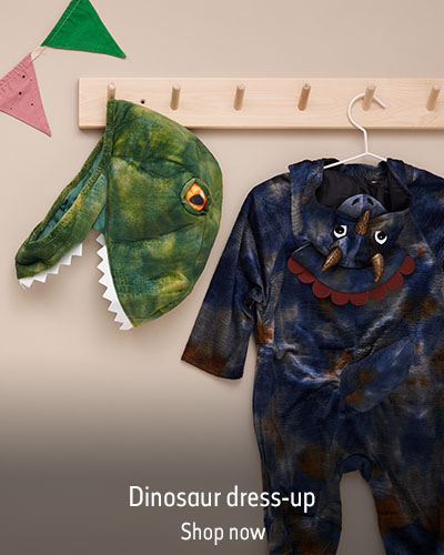 A T. rex costume hat and Triceratops costume hangs on wooden pegs, next to multicoloured bunting. The text reads 'Dinosaur dress up. Shop now.'