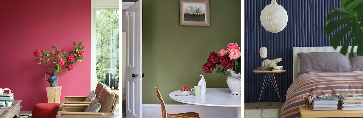 three room images featuring farrow and ball paint