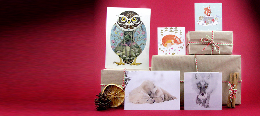A selection of Christmas cards on presents wrapped in brown paper with cinnamon sticks, dried fruit and a pine cone