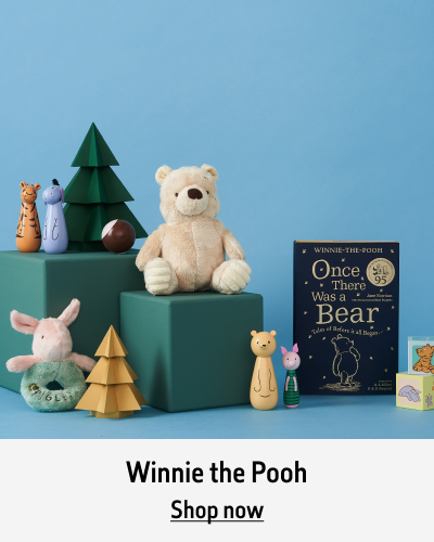 The Winnie the Pooh range sits in front of a blue background. The text reads Winnie the Pooh. Shop now.