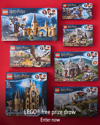 Boxed LEGO Harry Potter sets lay flat on a red background. The text reads LEGO free prize draw. Enter now.