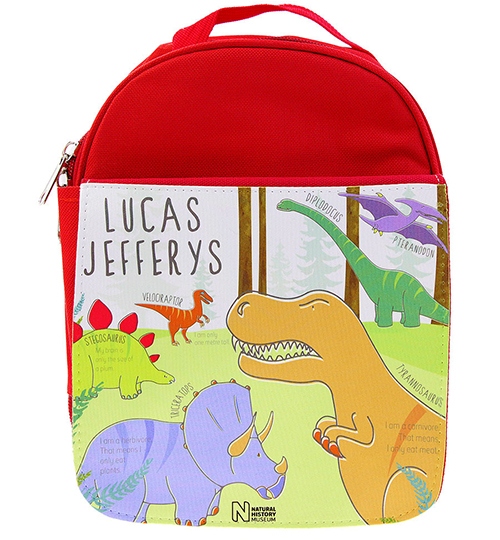 A red, personalised dinosaur rucksack