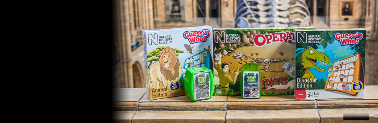 A range of Natural History Museum board games sit in front of Hope the blue whale