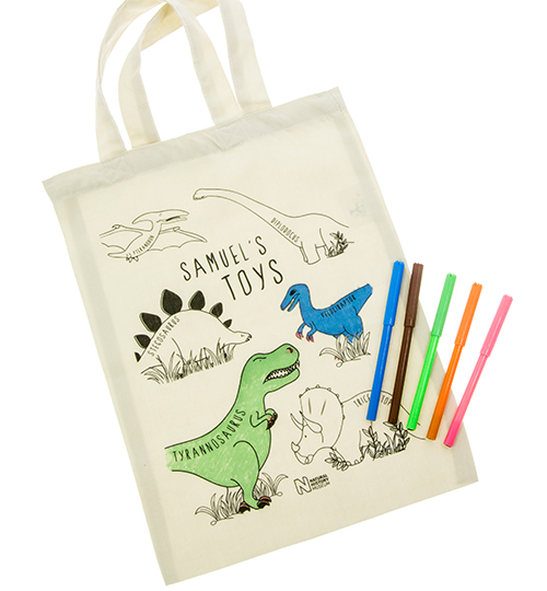 A close - up of the personalised colouring-in tote bag
