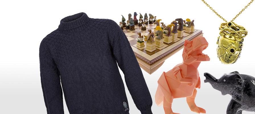 Chess set, anatomical heart necklace, Navy Shackleton sweater, orange T. rex lamp and black marble elephant