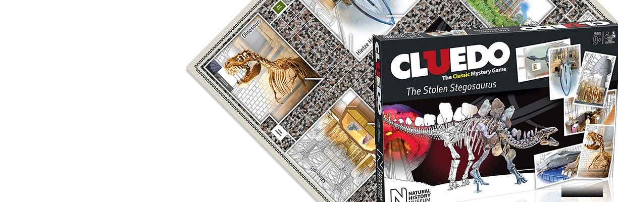 Natural History Museum Cluedo board game on white background