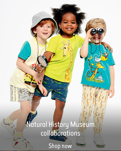 Three children wearing Marks and Spencer, Roald Dahl and the Natural History Museum collaboration clothing. The text reads 'Natural History Museum collaborations. Shop now.'